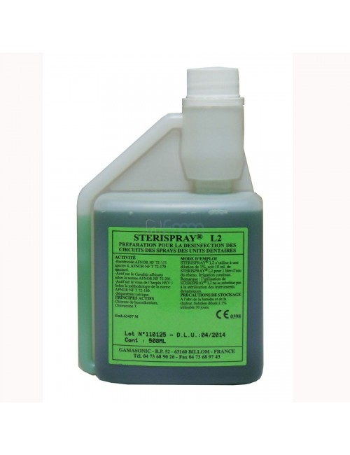 STERISPRAY SOLUTION DESINFECTION CIRCUITS SPRAYS DENTAIRES FLACON 500 ML AVEC DOSEUR GRADUE