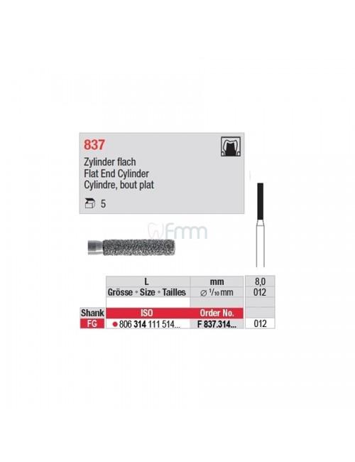 FRAISE EDENTA DIAMANTEE FG CYL. PLAT 837 GRAIN NORMAL ISO 012, LES 5 FRAISES